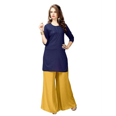 NTC Blue Cotton Embroidered Straight Kurta