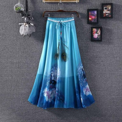 NTC Blue Crape Digital printed Flared Skirt