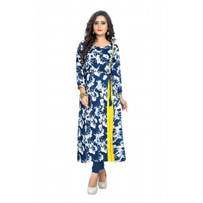 NTC Blue Rayon Printed Regular Kurta