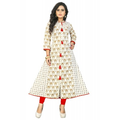 NTC Cream Cotton Printed Anarkali Kurta