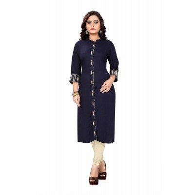 NTC Dark Blue Rayon Embroidered Straight Kurta