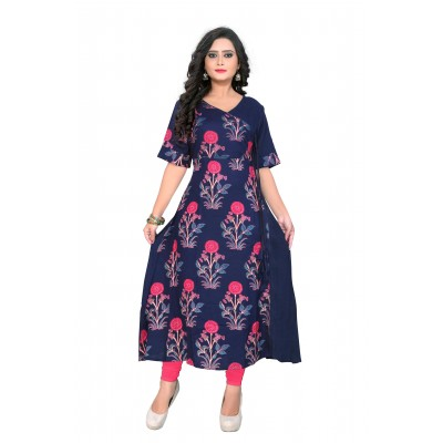 NTC Dark Blue Rayon Printed Flared Kurta