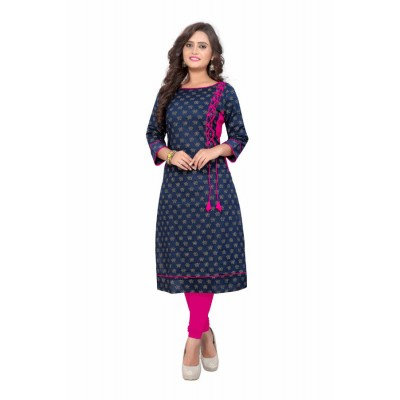 NTC Dark Blue Rayon Printed Straight Kurta