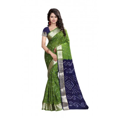 NTC Green Art Silk Cotton Bandhani Saree