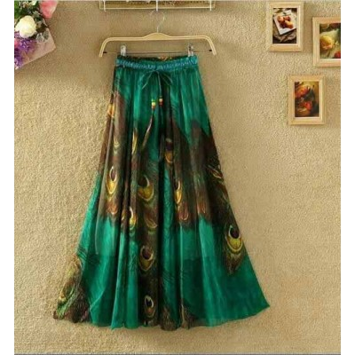 NTC Green Crape Digital printed Flared Skirt