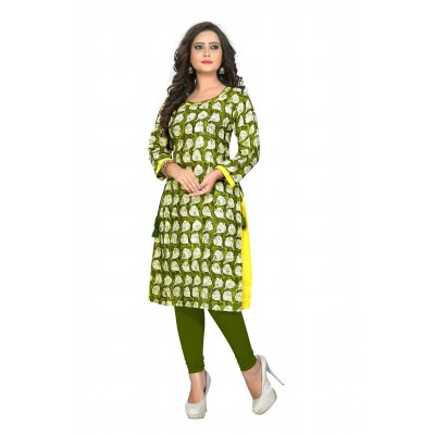NTC Green Rayon Printed Flared Kurta