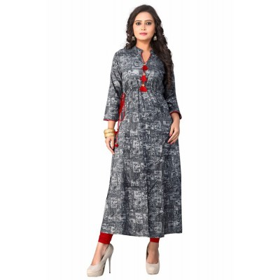 NTC Grey Rayon Printed Straight Kurta