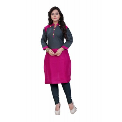 NTC Magenta Slub Cotton Straight Kurta