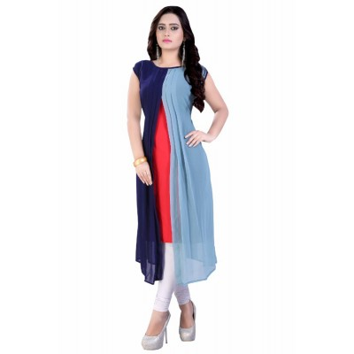 NTC Multi Colour Georgette Printed Straight Kurta