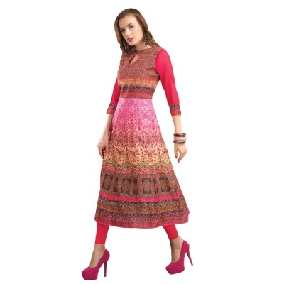 NTC Multi Colour Poly Dupion Digital printed Anarkali Kurta