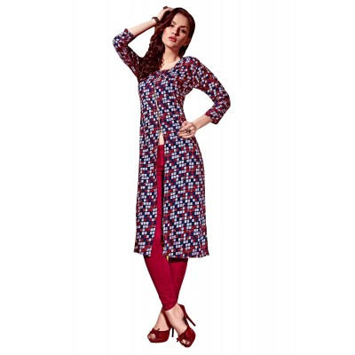 NTC Multi Colour Rayon Printed Slit Kurta