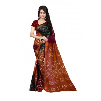 NTC Multi Colour Cotton Bandhani Saree