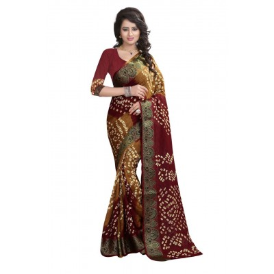 NTC Mustard Art Silk Cotton Bandhani Saree