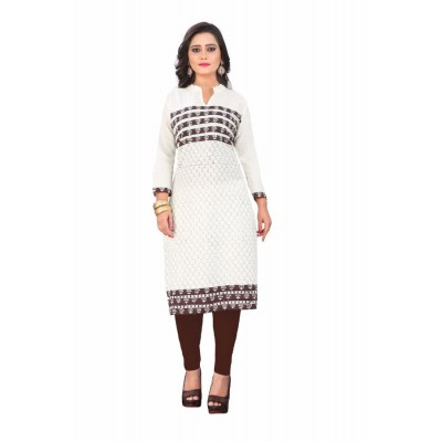 NTC Off White Cotton Printed Straight Kurta