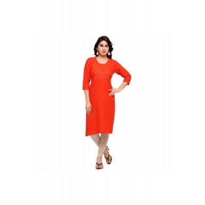 NTC Orange Cotton Embroidered Straight Kurta