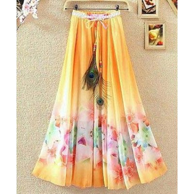 NTC Orange Crape Digital printed Flared Skirt