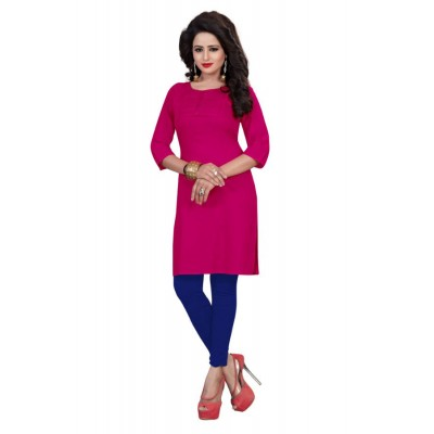 NTC Pink Cotton Embroidered Straight Kurta