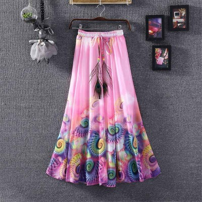 NTC Pink Crape Digital printed Flared Skirt