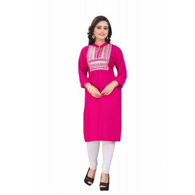 NTC Pink Rayon Embroidered Straight Kurta