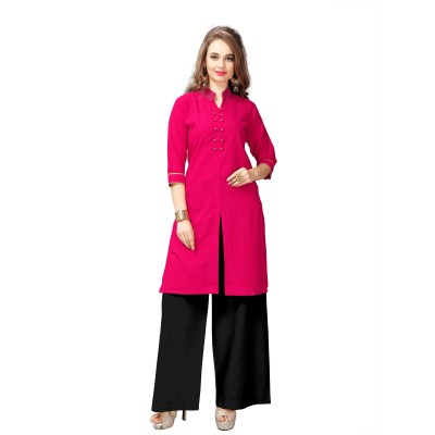 NTC Pink Slub Cotton Embroidered Straight Kurta