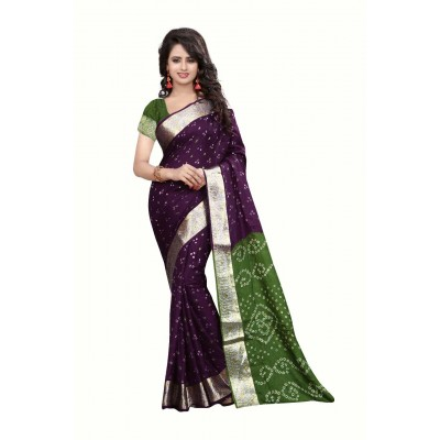 NTC Purple Art Silk Cotton Bandhani Saree