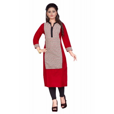 NTC Red Cotton Printed Straight Kurta