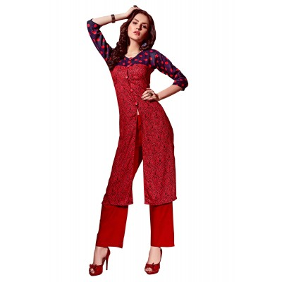 NTC Red Rayon Printed Slit Kurta