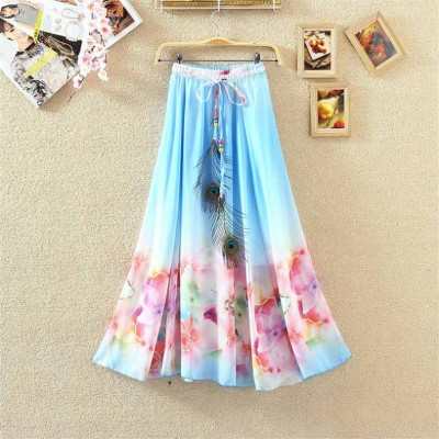 NTC Sky Blue Crape Digital printed Flared Skirt