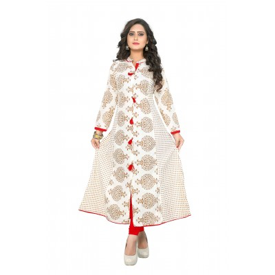 NTC White Cotton Printed Anarkali Kurta