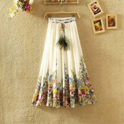 NTC White Crape Digital printed Flared Skirt