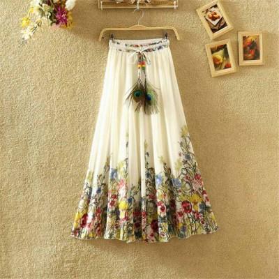 NTC White Crape Digital printed Flared Skirt
