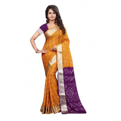 NTC Yellow Art Silk Cotton Bandhani Saree