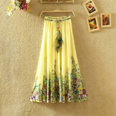 NTC Yellow Crape Digital printed Flared Skirt