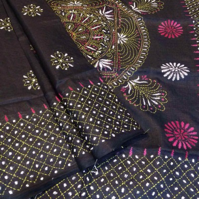 Ameya Black Tussur Silk Kantha Worked Saree