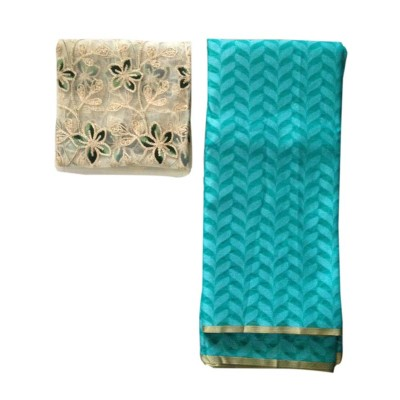 Ameya Blue Jute Patola with Net Designer Blouse