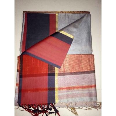 Ameya Grey Cotton Silk Ganga-Jamuna bordered Saree