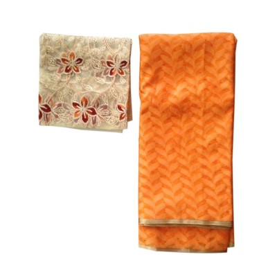Ameya Orange Jute Patola with Net Designer Blouse