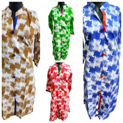 Shree Creation Brown Green Red & Blue Cotton Printed Straight Combo Kurtas - Pack of 4