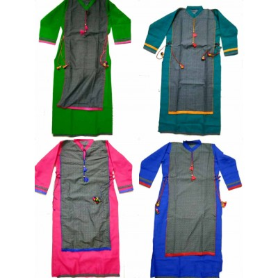 Shree Creation Green Blue Pink & Royal blue Cotton Straight Combo Kurtas -- Pack of 4