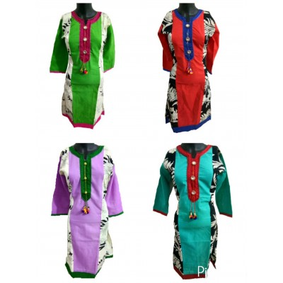 Shree Creation Green Red Violet & Sea Blue Cotton Printed Straight Combo Kurtas - Pack of 4