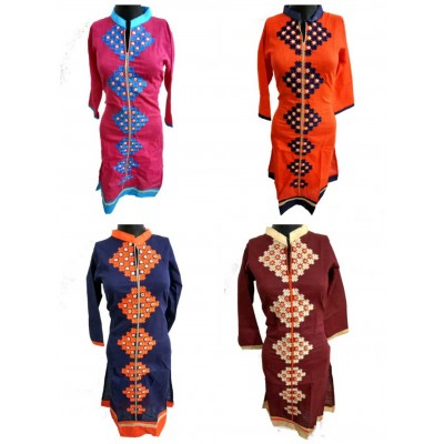 Shree Creation Rose Orange Navy Blue & Brown Cotton Embroidered Straight Combo Kurtas - Pack of 4