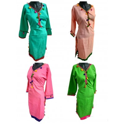 Shree Creation Sea Blue Peach Pink & Green Lon Cotton Solid Straight Combo Kurtas - Pack of 4 Kurtas