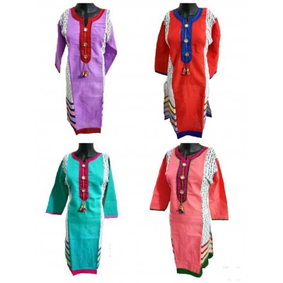 Shree Creation Violet Red Sea Blue & Rose Cotton Printed Straight Combo Kurtas - Pack of 4