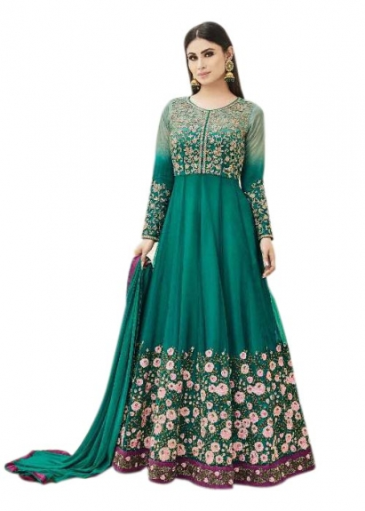 Semi -Stitched Anarkali Dress Material