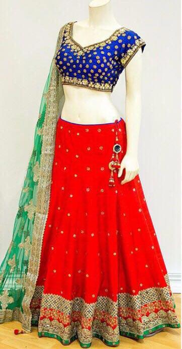 dd0c071a5a Rutu Fab Red Chennai Silk Embroidered Semi-Stitched Lehenga Choli