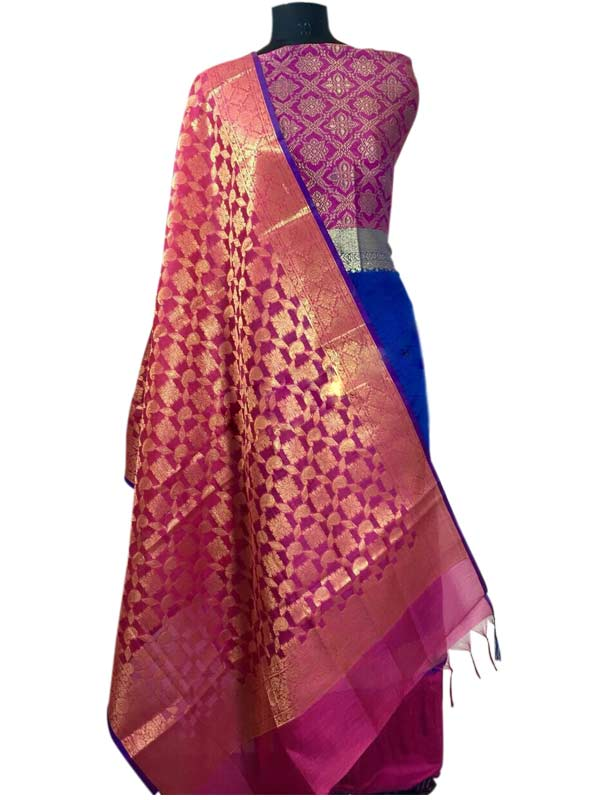 265794a318 N collection Blue Silk Banarasi Weaved Un-Stitched Handloom Dress ...
