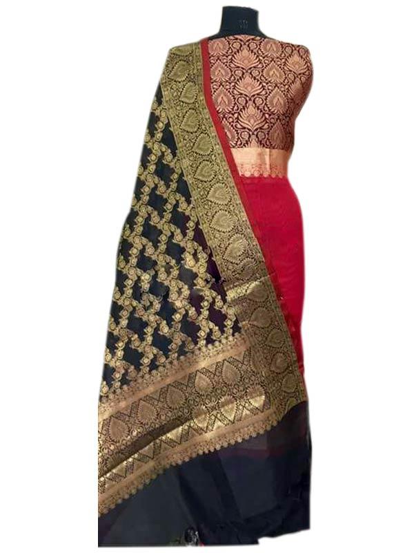 745554f4c8 N collection Red Silk Banarasi Weaved Un-Stitched Handloom Dress ...