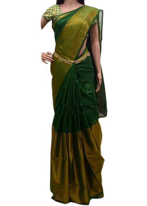 f981f3fcfb2c56 Veerfashions Dark Green Tissue Silk Uppada Handloom Saree