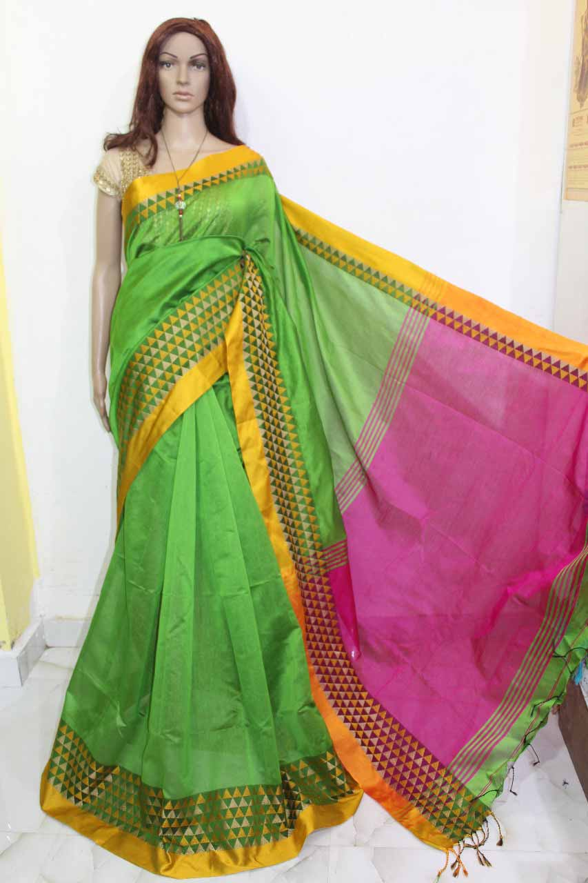 ee2f22355cad8 Debajit Light Green Cotton Silk Solid Bengal Tant Handloom Saree