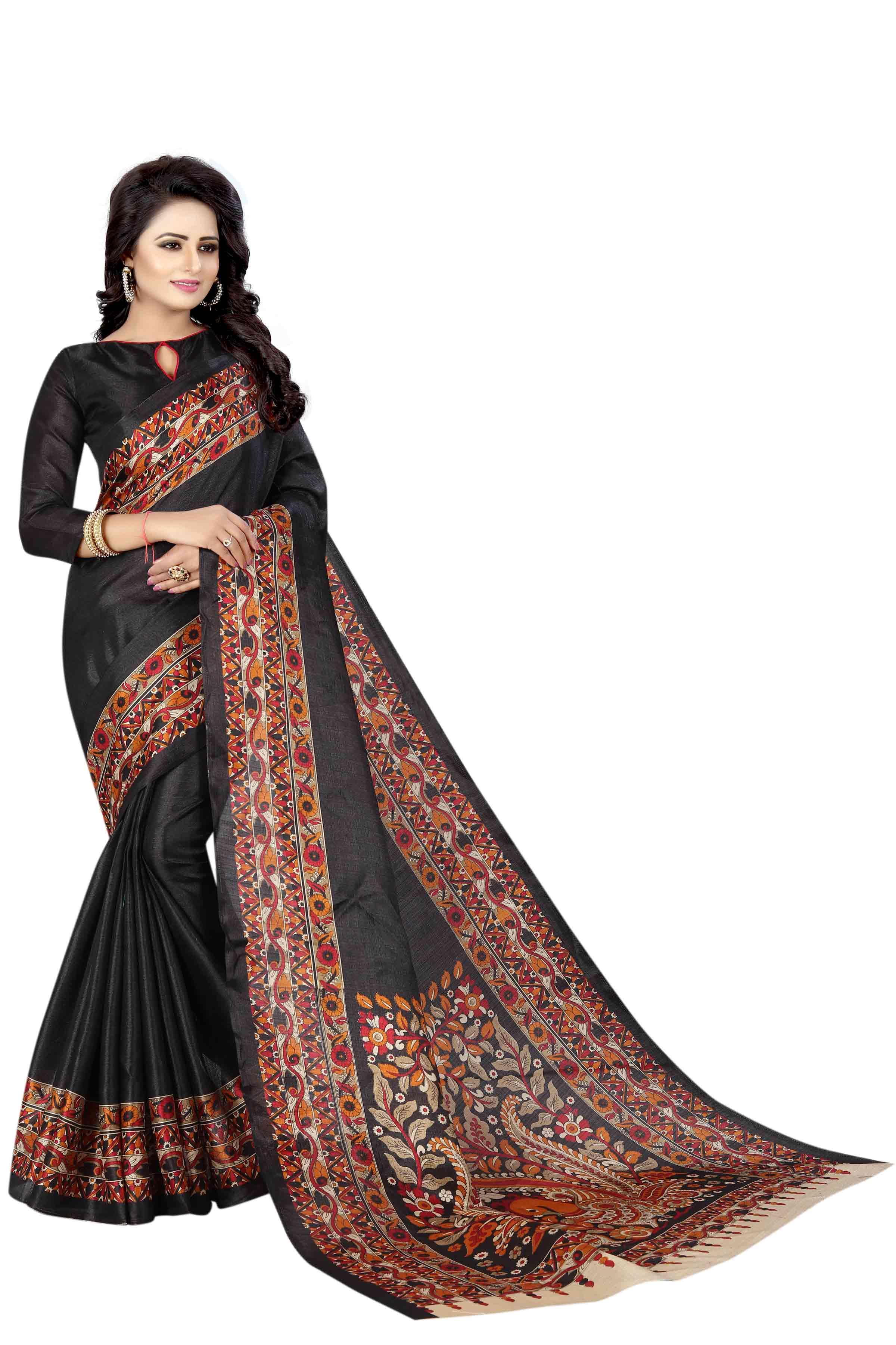 js fashion Black Silk Printed Saree